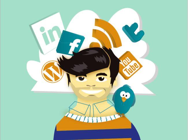 Dessin home et réseaux sociaux