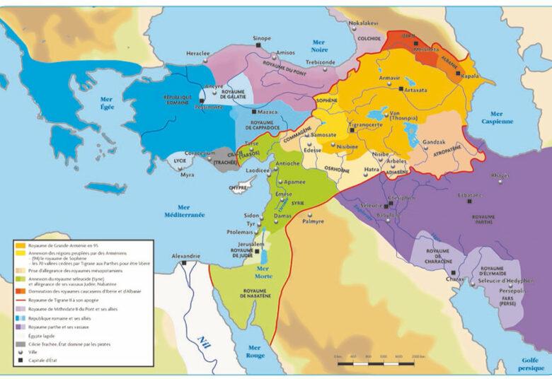 Carte de l'Arménie sous le reigne de Tigrane II en 70 av JC - chaire eurasie