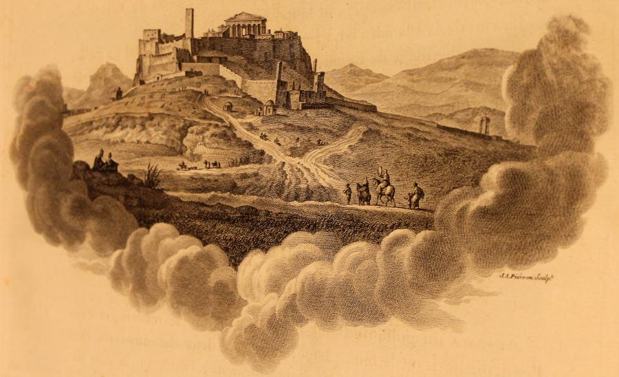 Vue d'Athènes prise dans la plaine au pied de l'acropole. Au dessus des murailles de cette acropole s'élève le Parthénon, dont on voit la façade. Illustration de Voyage pittoresque de la Grèce de Choiseul-Gouffier.