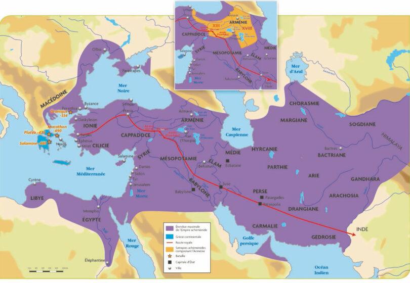 IRAN - Carte de l'Empire Achemenide en 521 av JC -l'Iran lors de sa plus vaste extension - chaire Eurasie
