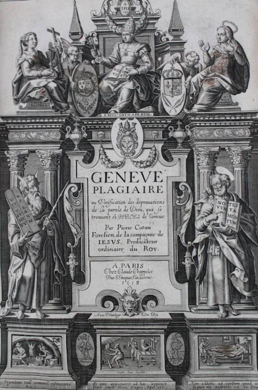 Livre ancien - Illustration de la controverse religieuse, 1610