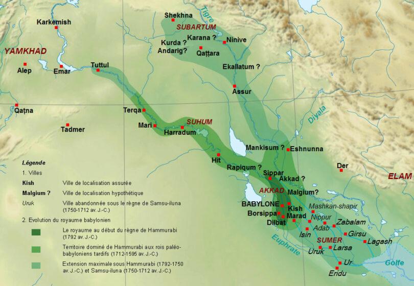 Mesopotamie - les principales cités au 2 millénaire avant notre ère - Zunkir-Wikipédia - chaire Eurasie