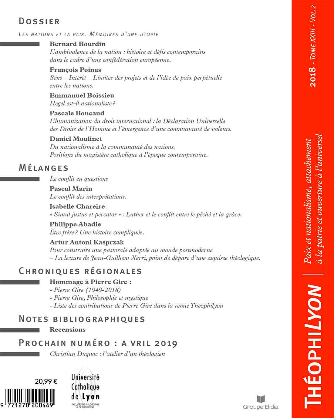 4eme de couverture du numéro 23 de la revue Théophylion