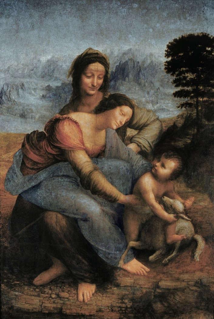 17. La Vierge, l'Enfant Jésus et sainte Anne. Leonard de Vinci