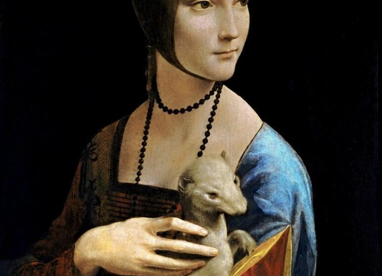 7. La Dame à l'hermine (Cecilia Gallerani). Leonard de Vinci