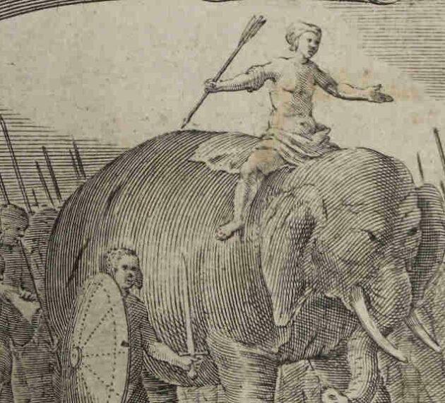 Gravure 18eme représentant un éléphant