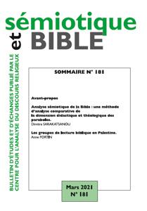 Couverture n° 181 Revue Sémiotique et Bible